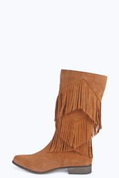 Boohoo Maria Leather Fringe Calf Boot Tan