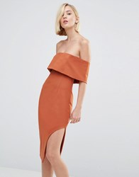 Lavish Alice Deep Bandeau Asymmetric Hem Midi Dress Teracotta Tan