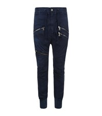 Balmain Pierre Biker Zip Casual Trousers Male Blue