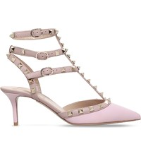 Valentino Rockstud 65 Leather T Bar Courts Pale Pink