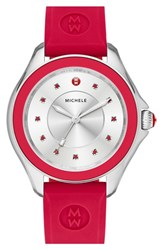 Women's Michele 'Cape' Topaz Dial Silicone Strap Watch 40Mm Red Silver