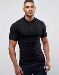 Asos Extreme Muscle Polo Shirt In Black Black