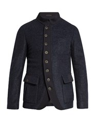 Giorgio Armani Patch Pocket Fleece Jacket Navy