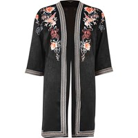 River Island Womens Black Floral Embroidered Kimono