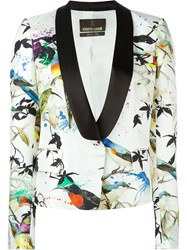 Roberto Cavalli Bird Print Tuxedo Blazer Nude And Neutrals