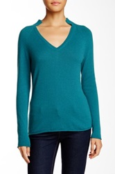 Lafayette 148 New York Framed V Neck Cashmere Sweater Blue