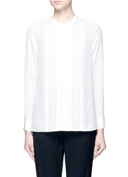 Vince Mandarin Collar Pleat Front Shirt White