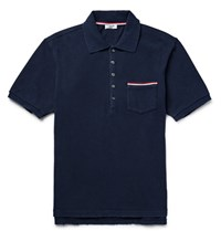 Thom Browne Slim Fit Distressed Cotton Jersey Polo Shirt Navy