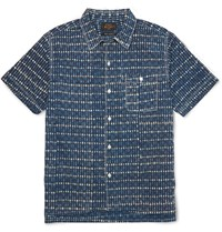 Beams Plus Printed Cotton Shirt Blue