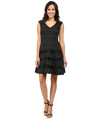 Aidan Mattox Metallic Knit Cocktail Dress W Shadow Stripe Detail Black Silver Women's Dress