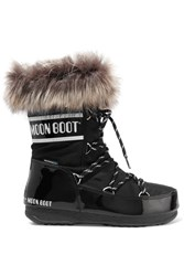Moon Boot Monaco Faux Fur Trimmed Shell Pique And Faux Patent Leather Snow Boots Black