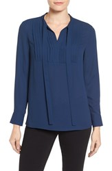 Vince Camuto Women's Tie Neck Pleat Tuxedo Blouse Naval Navy