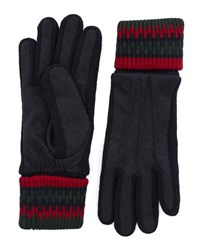 Carven Navy Blue And Red Pixel Effect Wool Gloves