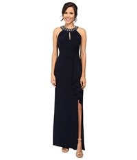 Vince Camuto Gathered Neck Halter Gown W Beading At Neckband Navy Women's Dress