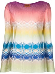 Missoni Printed Woven Blouse Pink And Purple