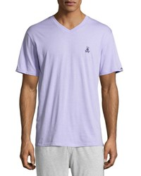 Psycho Bunny Classic Embroidered Logo V Neck Lounge Tee Lavender