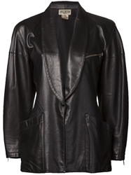 Alaia Vintage Leather Shawl Collar Blazer Black