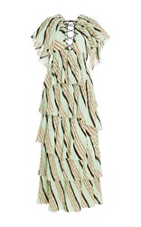 Sonia Rykiel Printed Cotton Crepon Dress Lime Green