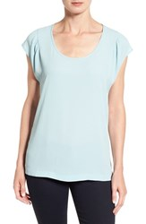 Pleione Women's Cap Sleeve Blouse Blue Raindrop