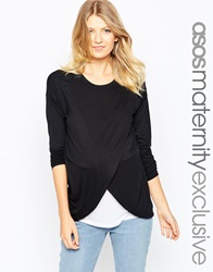 Asos Maternity Nursing Top With Wrap Overlay And Long Sleeve Blackwhite