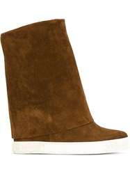 Casadei Folded Flat Boots Brown