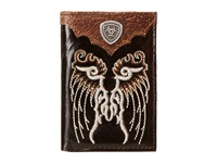 Ariat Shield Concho Embroidered Wing Tri Fold Wallet Brown Wallet Handbags