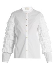 Maison Rabih Kayrouz Ruffle Sleeved Cotton Poplin Blouse White