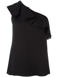 Theory One Shoulder Ruffle Top Blue
