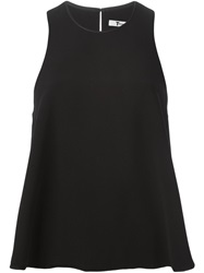 T By Alexander Wang Leather Trim Flared Top Black