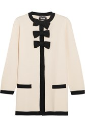 Boutique Moschino Bow Embellished Wool And Cotton Blend Jacket White