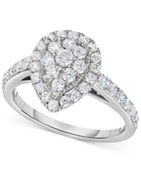 Macy's Diamond Pear Antique Inspired Engagement Ring 1 Ct. T.W. In 14K White Gold