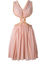 Jay Ahr Studded Cut Out Dress Pink And Purple