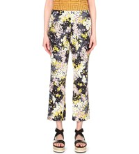 Whistles Selby Floral Print Silk Trousers Multi Coloured