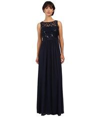 Adrianna Papell Sleeveless Sequin Mesh Bodice And Stretch Tulle Gown Midnight Women's Dress Navy