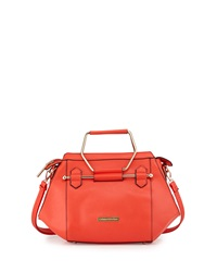 Catherine Catherine Malandrino Jennifer Hexagon Faux Leather Satchel Tangerine