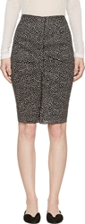 Nina Ricci Black And White Spotted Ruched Pencil Skirt