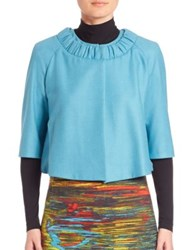 Akris Punto Wool And Angora Ruched Collar Cropped Bubble Jacket Cream Turquoise