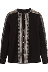 Temperley London Girona Embroidered Silk Shirt Black