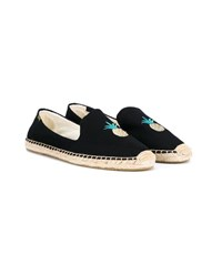 Soludos Espadrilles With Pineapple Embroidery Black Linen
