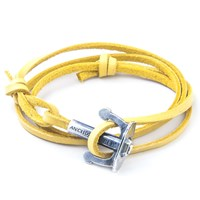 Anchor And Crew Union Leather And Silver Bracelet Yellow