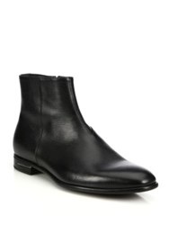 Prada Saffiano Leather Ankle Boots Black
