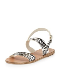 Ancient Greek Sandals Dinami Printed Leather Flat Sandal Black White