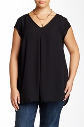 Daniel Rainn V Front Solid Woven Shell Blouse Plus Size Black