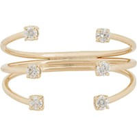 Jennie Kwon Women's Diamond And Gold Tri Band Cuff Ring No Color