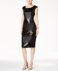 Connected Two Tone Sequined Sheath Dress Black