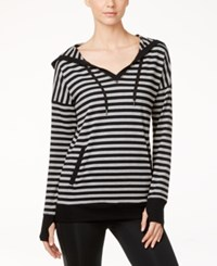 Ideology Striped Hooded Tunic Only At Macy's Heather Charcoal Stripe