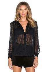 Hoss Intropia Floral Button Up Blouse Black