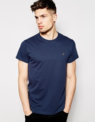 Farah T Shirt With F Logo In Slim Fit Navy