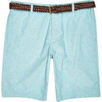 River Island Mens Green Oxford Belted Bermuda Shorts