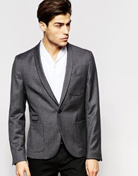 Hart Hollywood By Nick Hart 100 Wool 1 Button Blazer With Shawl Lapel In Slim Fit Grey